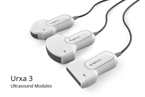 Urxa 3 Ultrasound Modules for Warp 3 Medical Recorder: 7.5MHz L4-75 Linear Transducer, 2.5 MHz C5-25 Convex Transducer, 7.5 MHz R2-75 Micro Convex Transducer,  may be the smallest ultrasound